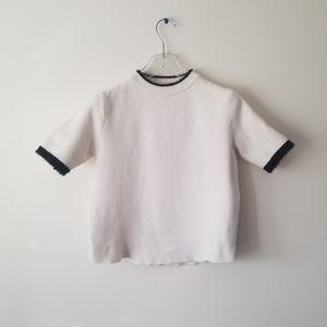 Zara Knit Top Sweater Fluffy cream sz Small